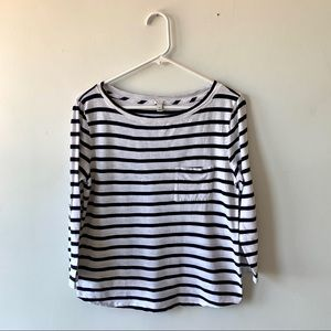 J. Crew Navy Striped Cotton 3/4 Sleeve Pocket Tee